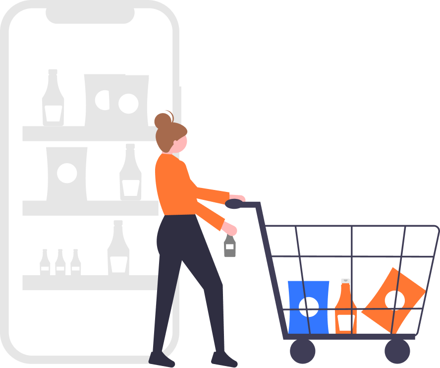 Shopify Plus Implementation - illustration of a woman holding a shopping cart
