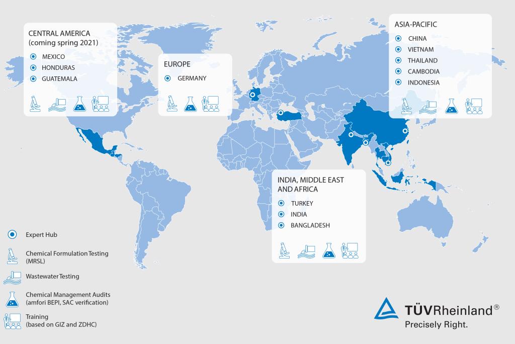 TÜV Rheinland's major hubs for waste water testing