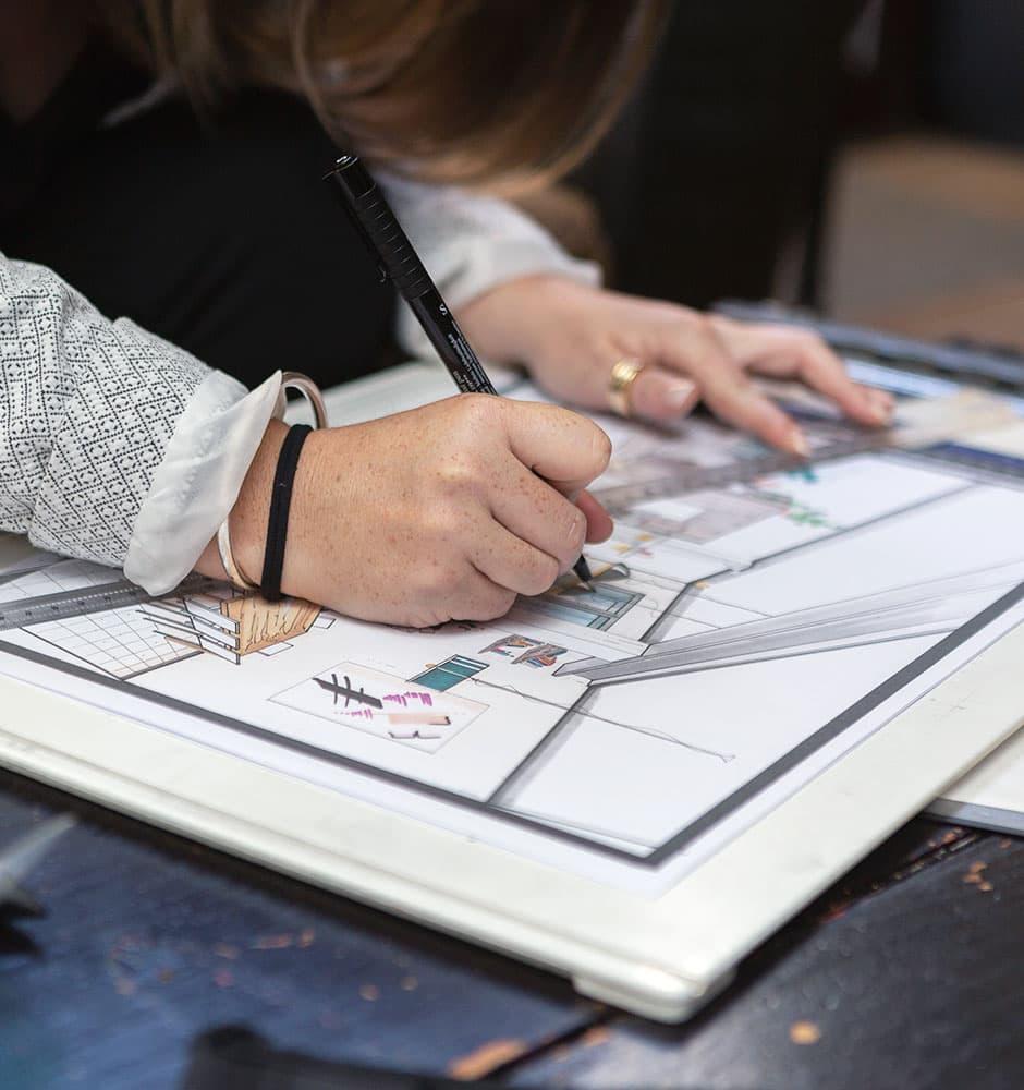 Plan et dessin d'agencement d'espaces de l'Atelier de Léa.