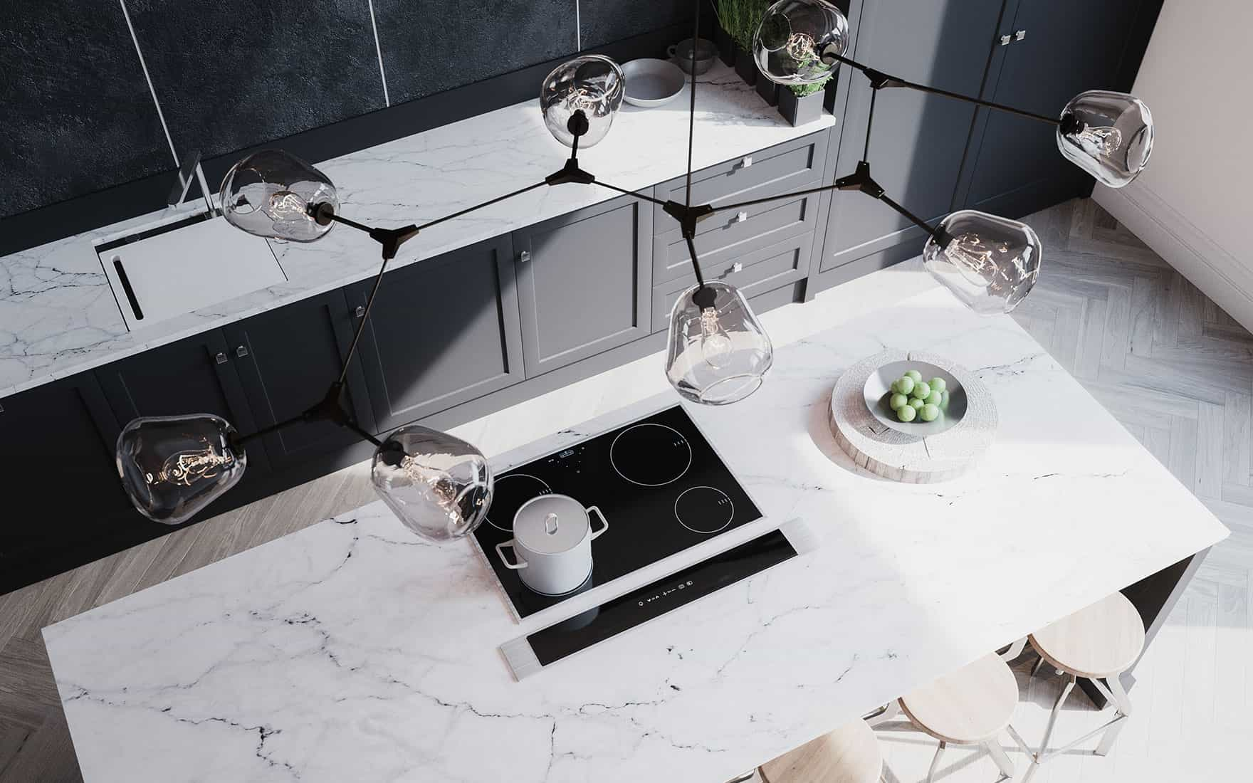 Cuisine moderne grise anthracite sur-mesure avec plan de travail en marbre.