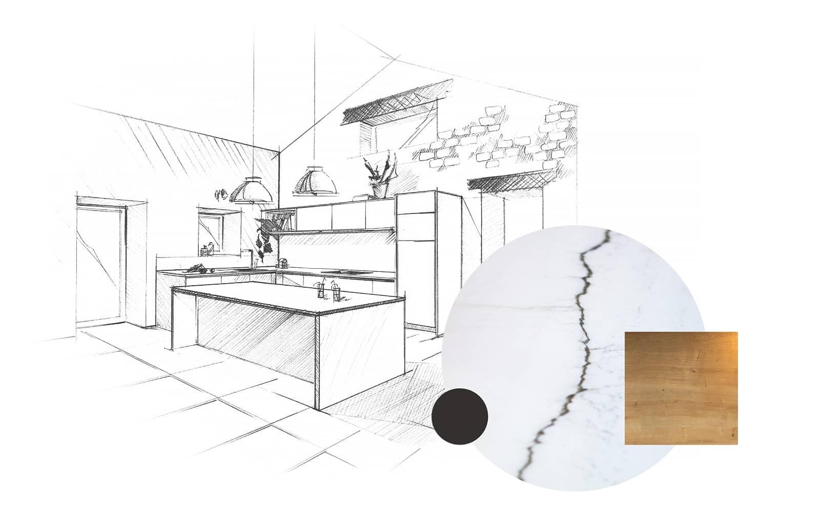 Projet de l'Atelier de Léa : dessin en perspective et échantillons d'une cuisine contemporaine minimaliste blanche sur-mesure.