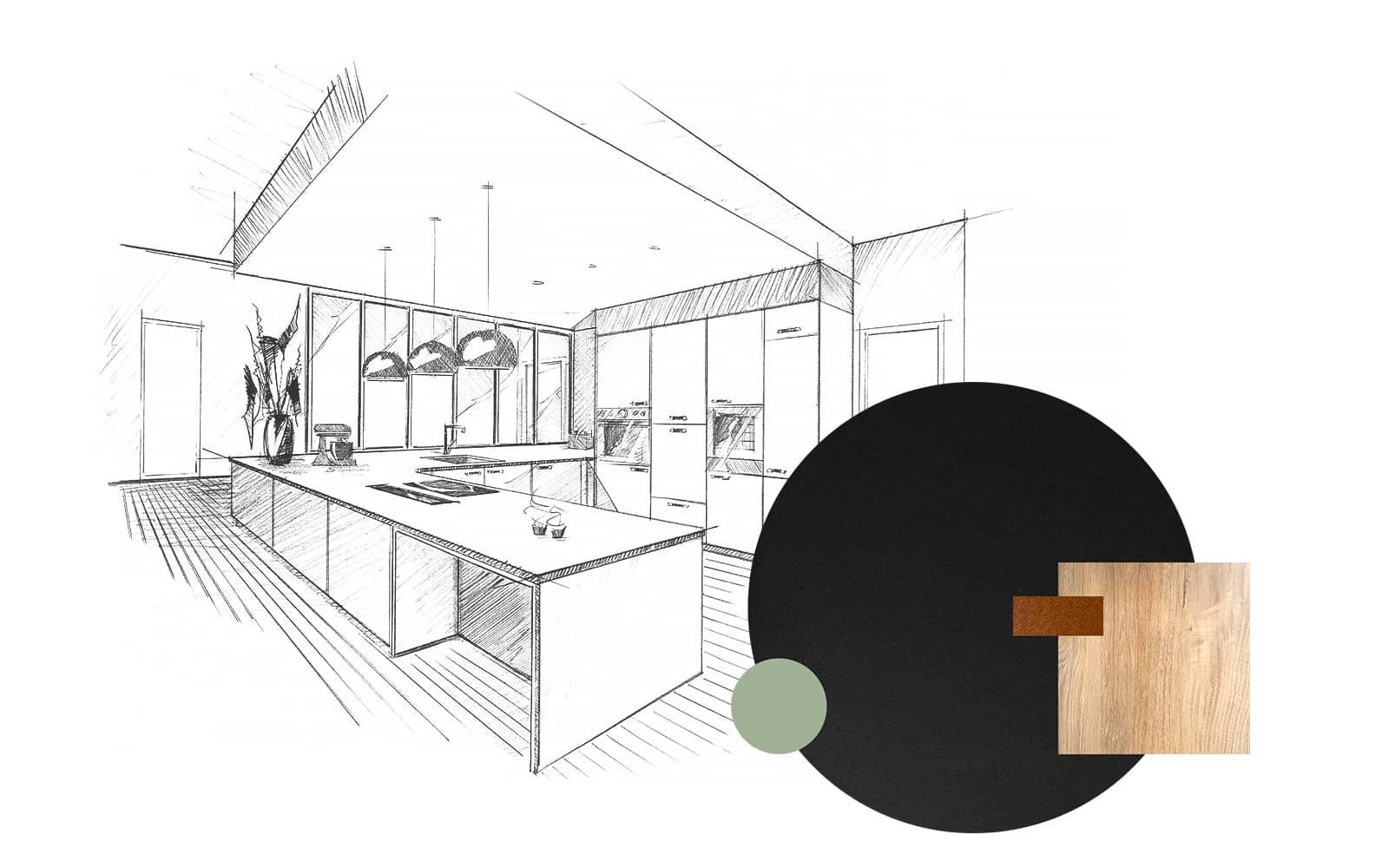 Projet de l'Atelier de Léa : dessin en perspective et échantillons d'une cuisine moderne noire sur-mesure en cube avec verrière.