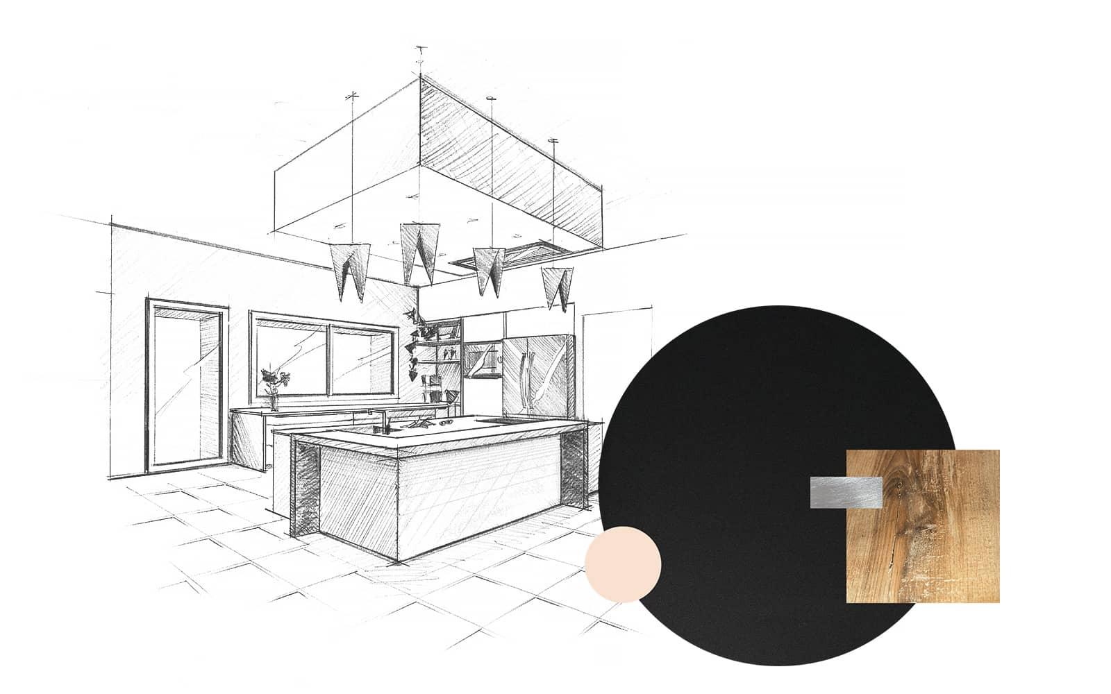 Projet de l'Atelier de Léa : dessin en perspective et échantillons d'une cuisine moderne noire asymétrique sur-mesure avec plans de travail en bois et granite.