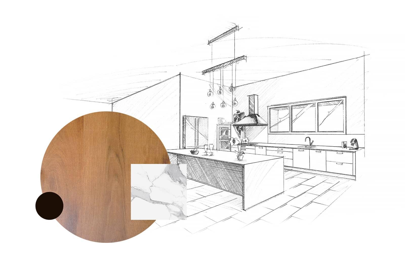 Projet de l'Atelier de Léa : dessin en perspective et échantillons d'une cuisine contemporaine sur-mesure, avec façades en bois et plans de travail en marbre.
