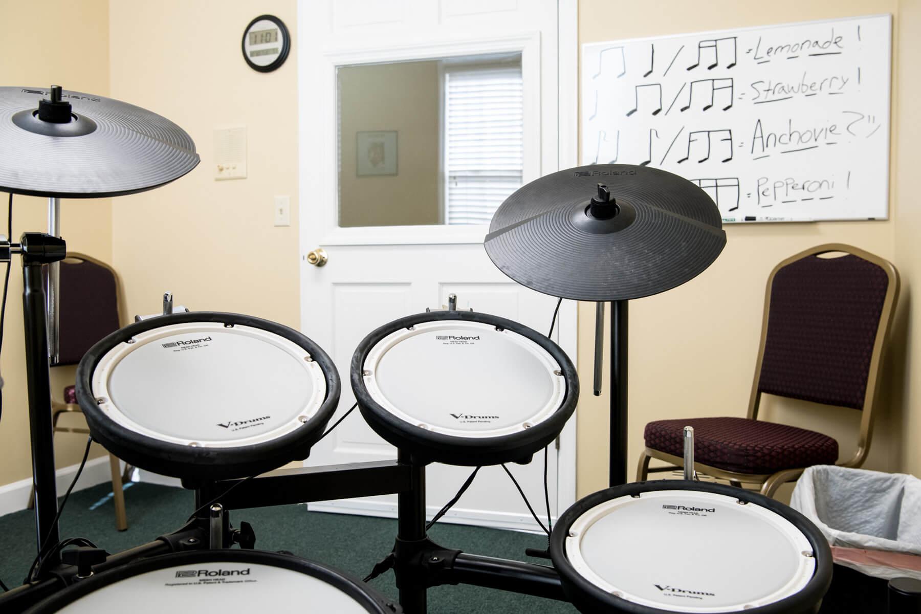 Close up shot of electronic drum kit.