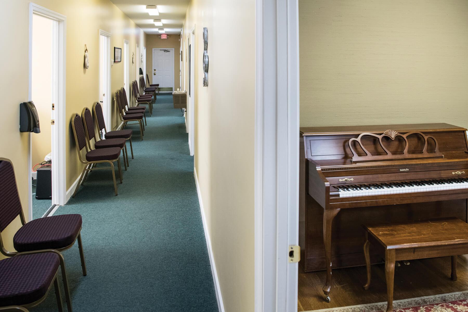 Piano and hallway at Irmo Music Academy