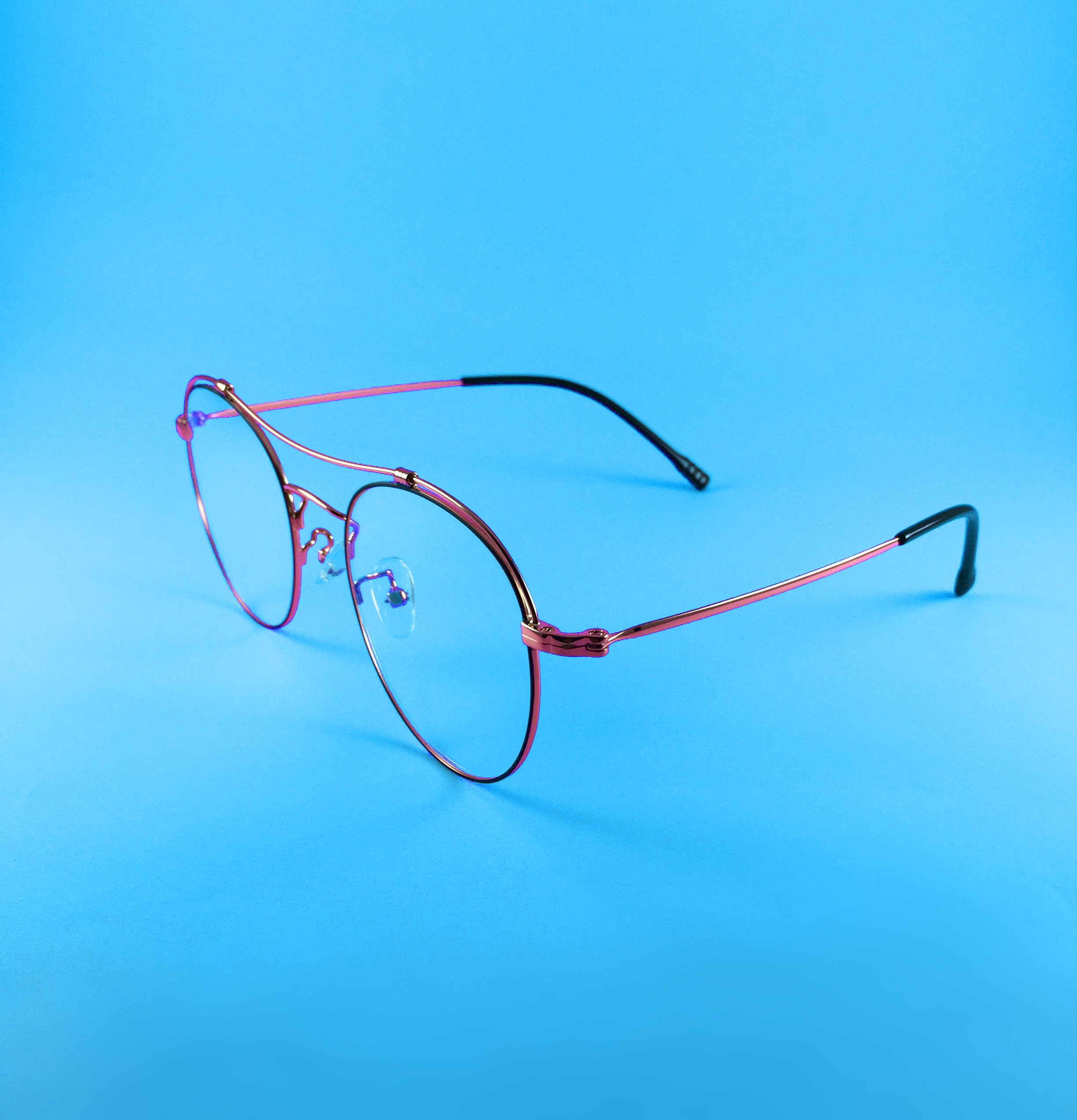 Glasses on a blue background