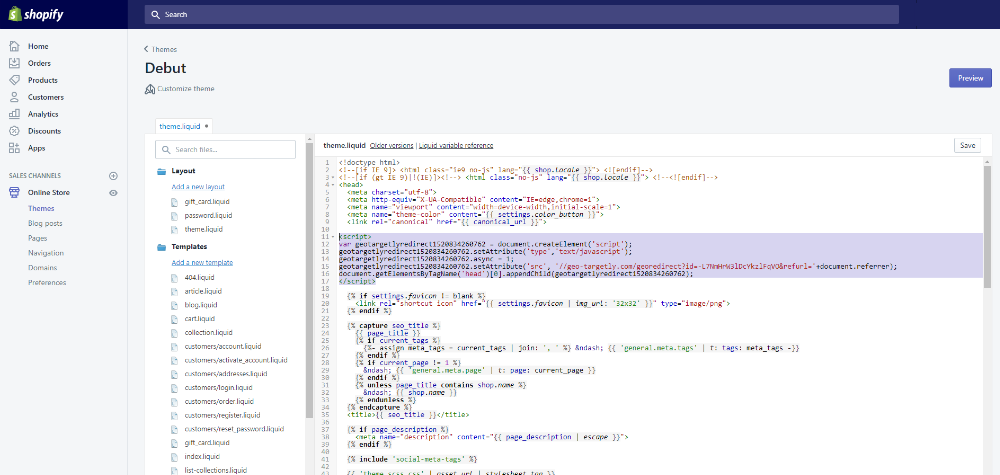 shopify code injector