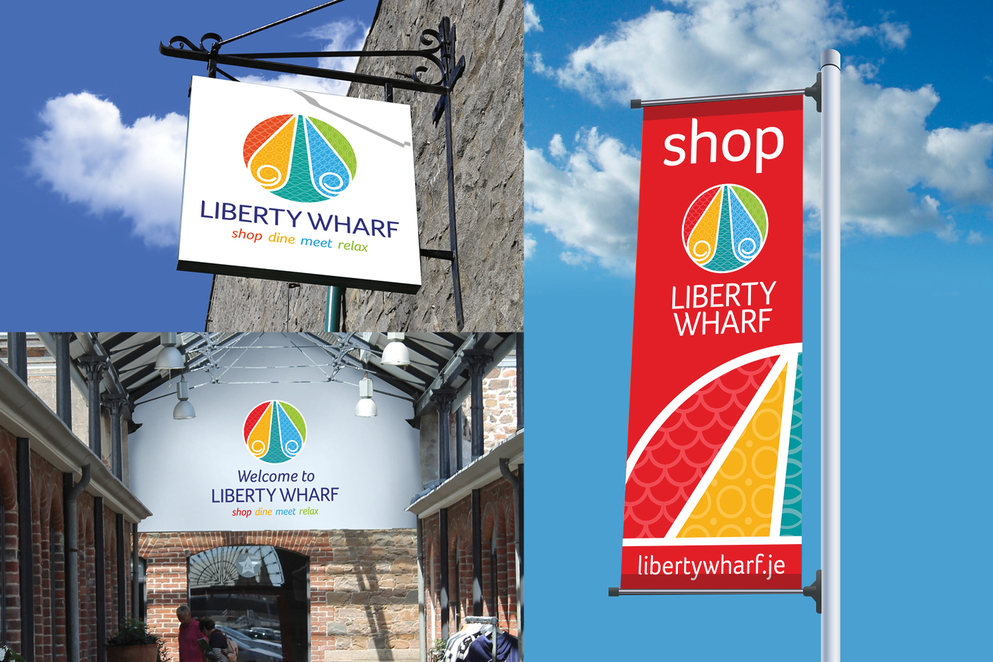 Liberty Wharf branding on various outdoor locations