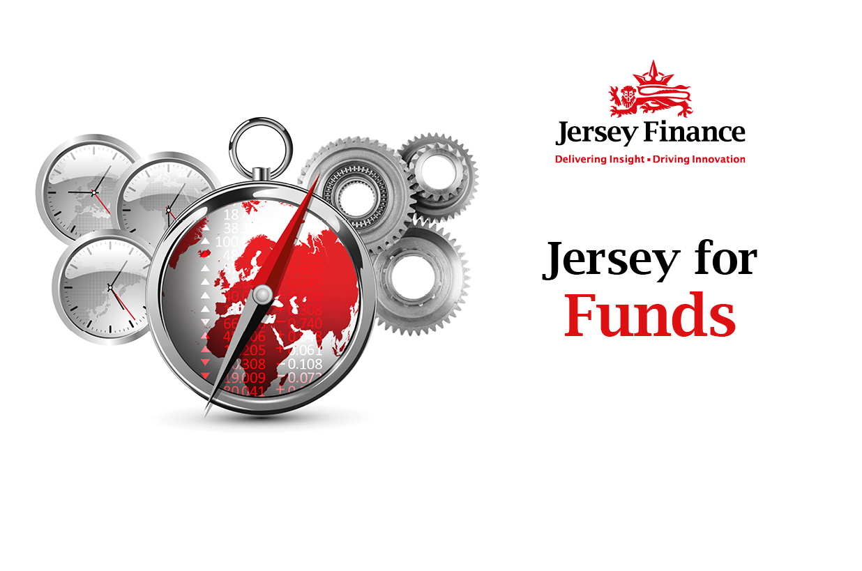 Jersey Finance branding using compass and clocks