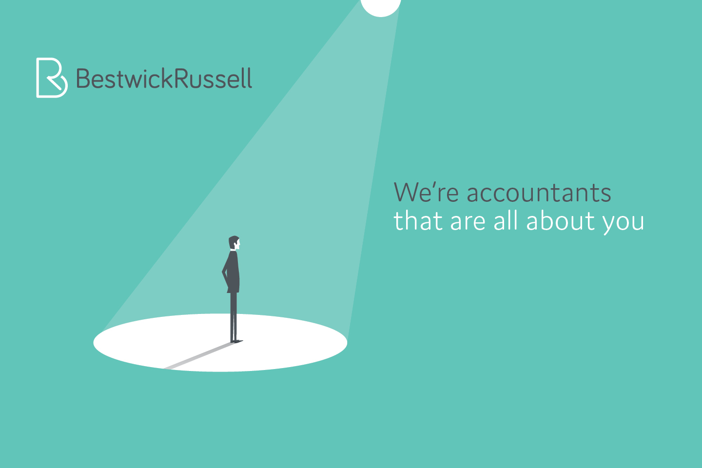 Bestwick Russell branding with spotlight