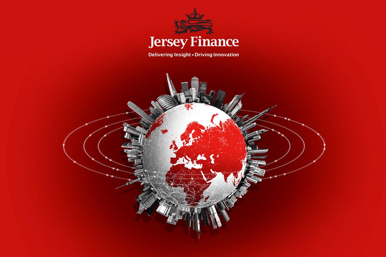 Jersey Finance branding using globe