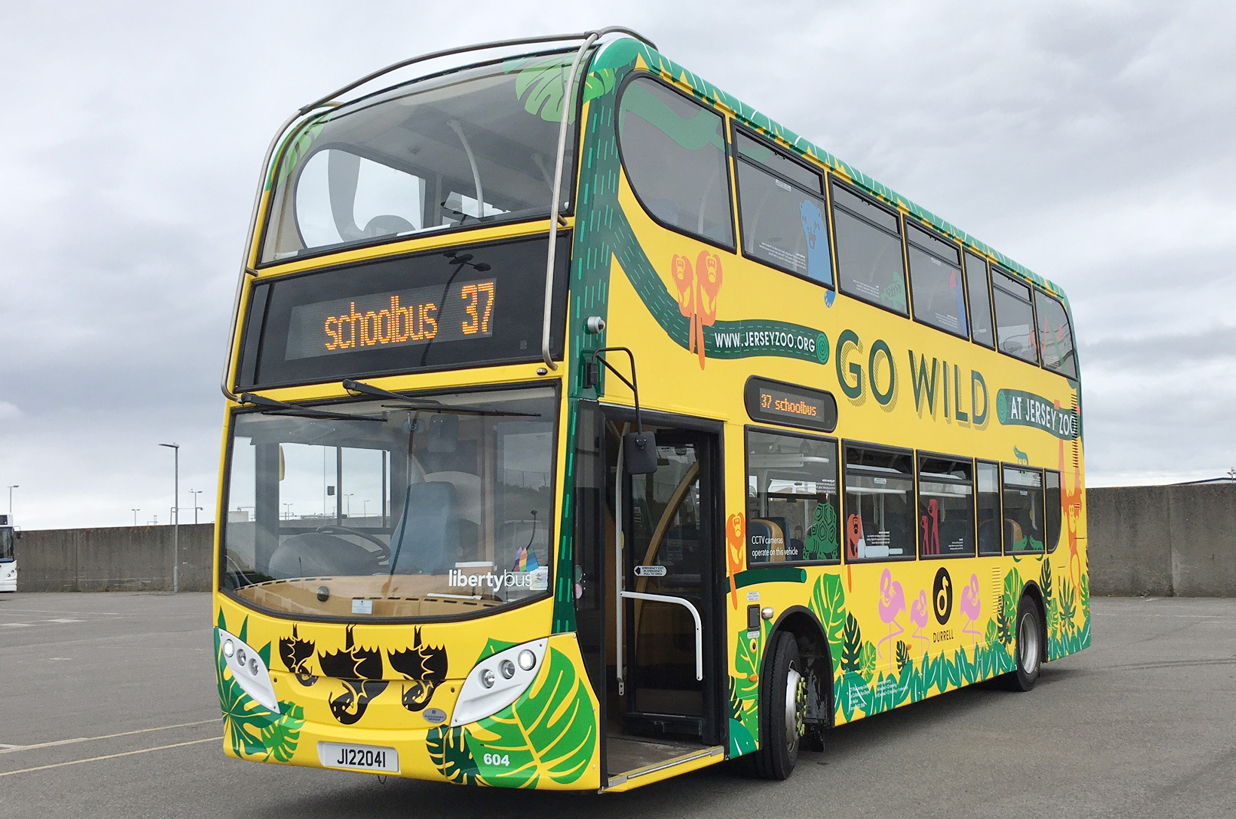 Double decker full wrap advert for Jersey Zoo
