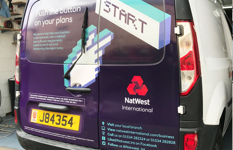Natwest vehicle wrap advertising on Jersey Post fleet