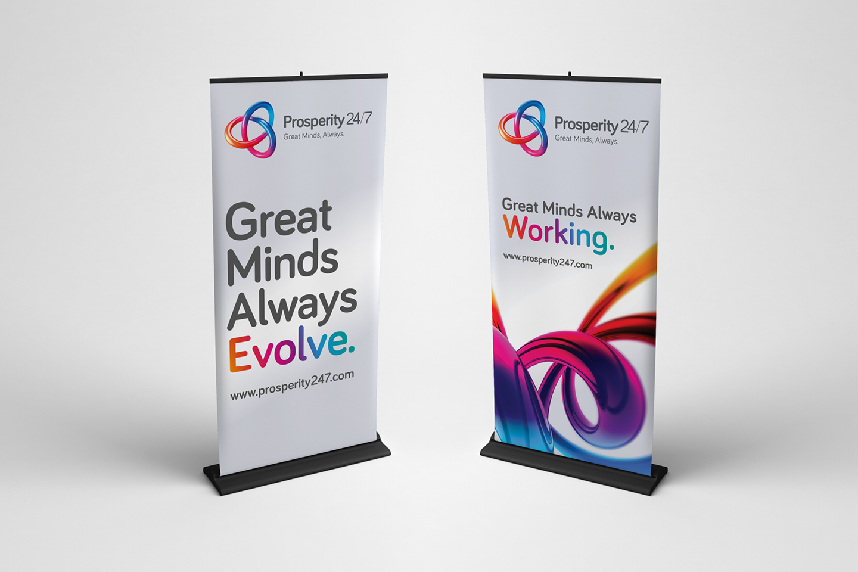 Prosperity 24/7 branded roller banners