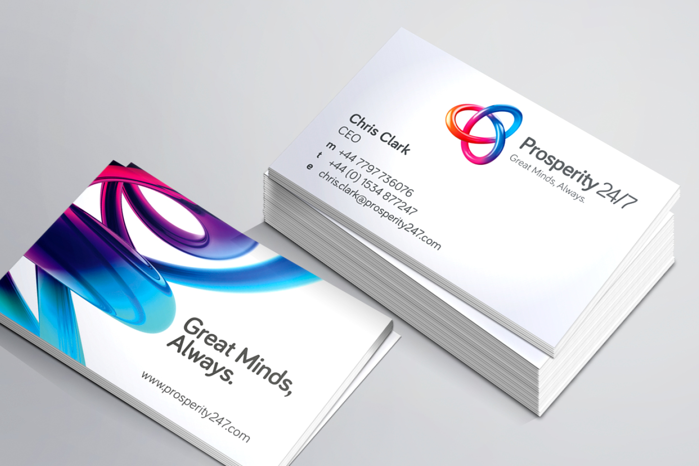 Prosperity 24/7 branded business cards