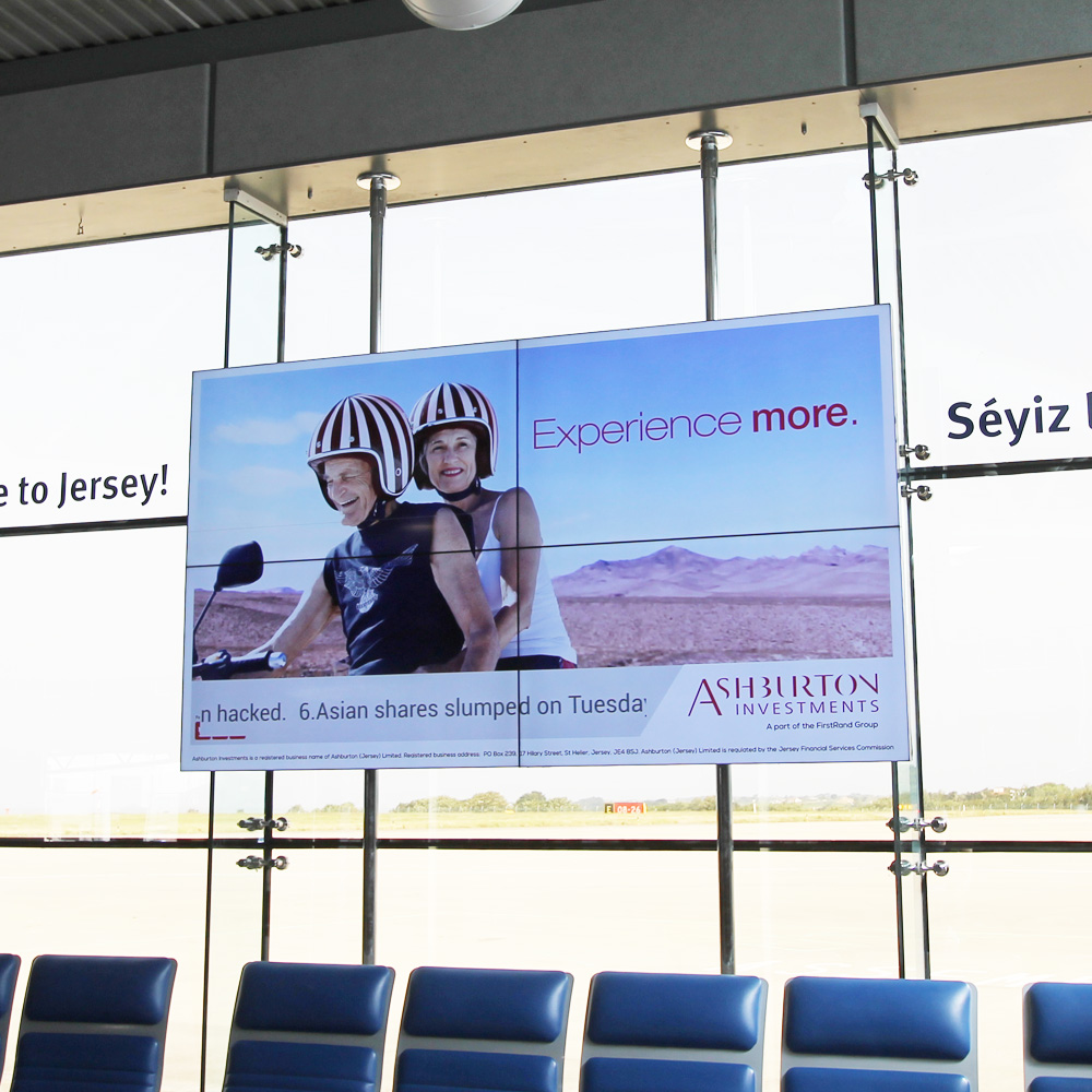 Ashburton Investments advertising at Jersey Airport