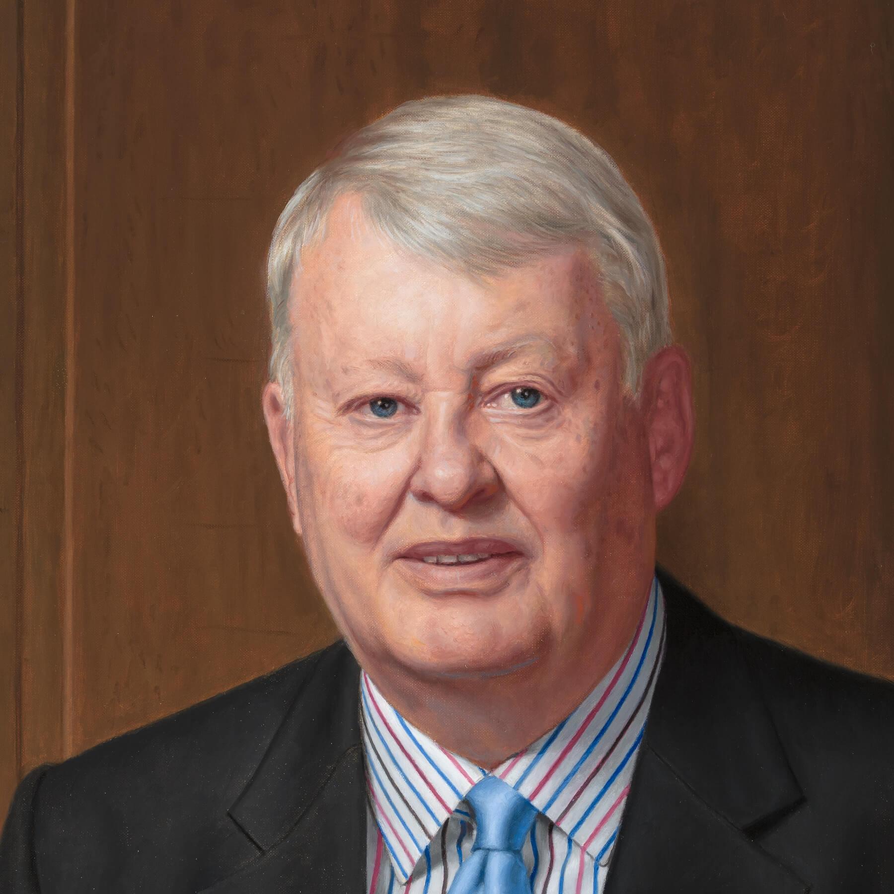 Custom oil portrait; businessman's face detail