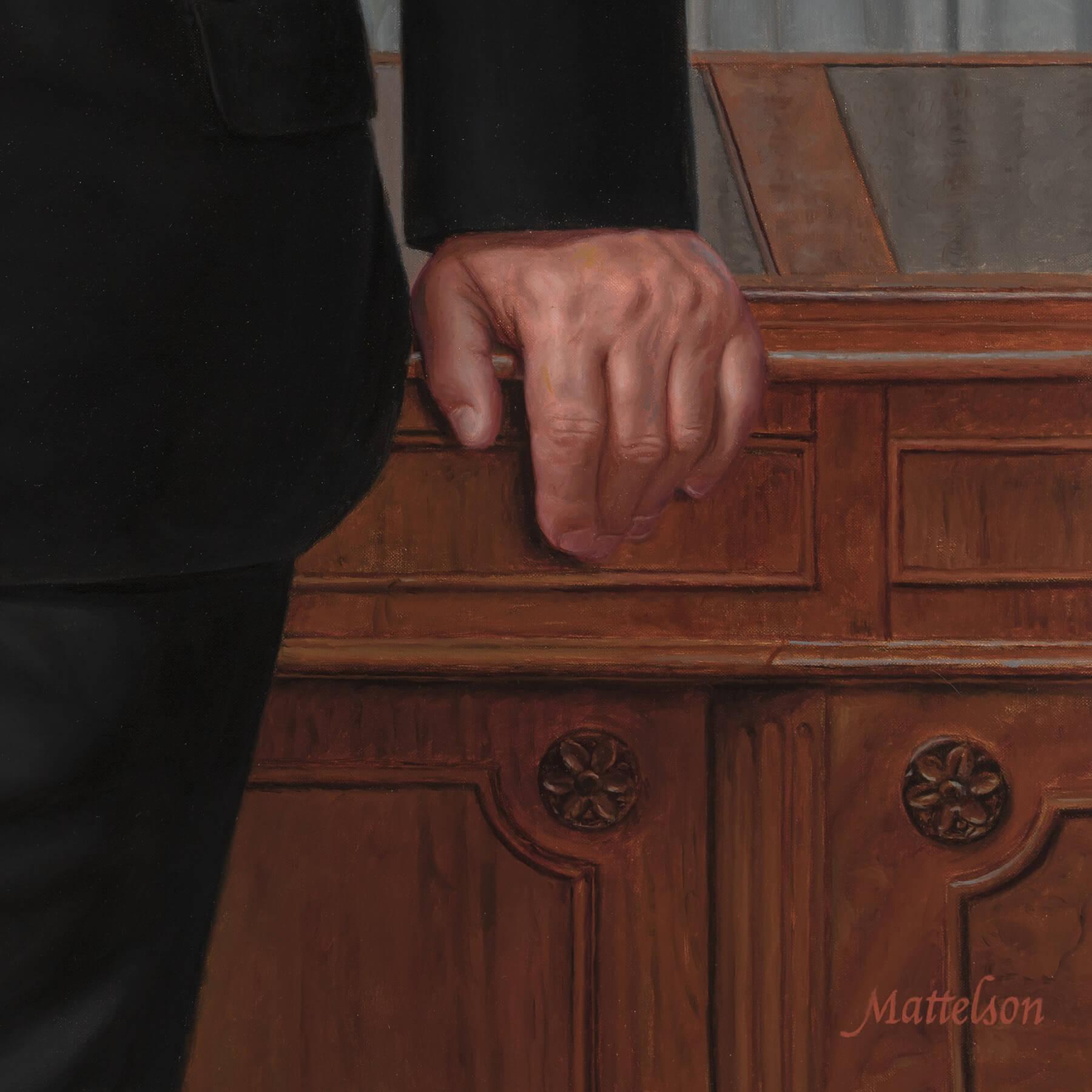 Custom oil businessman's portrait- Antique desk with wood grain and hand detail.
