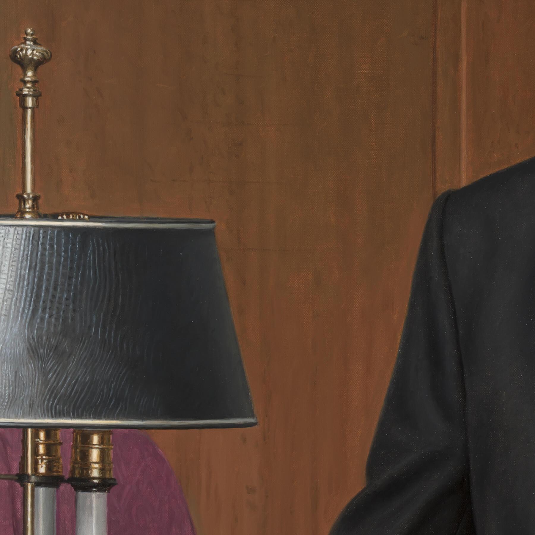 Custom oil businessman's portrait- Alligator textured lampshade.