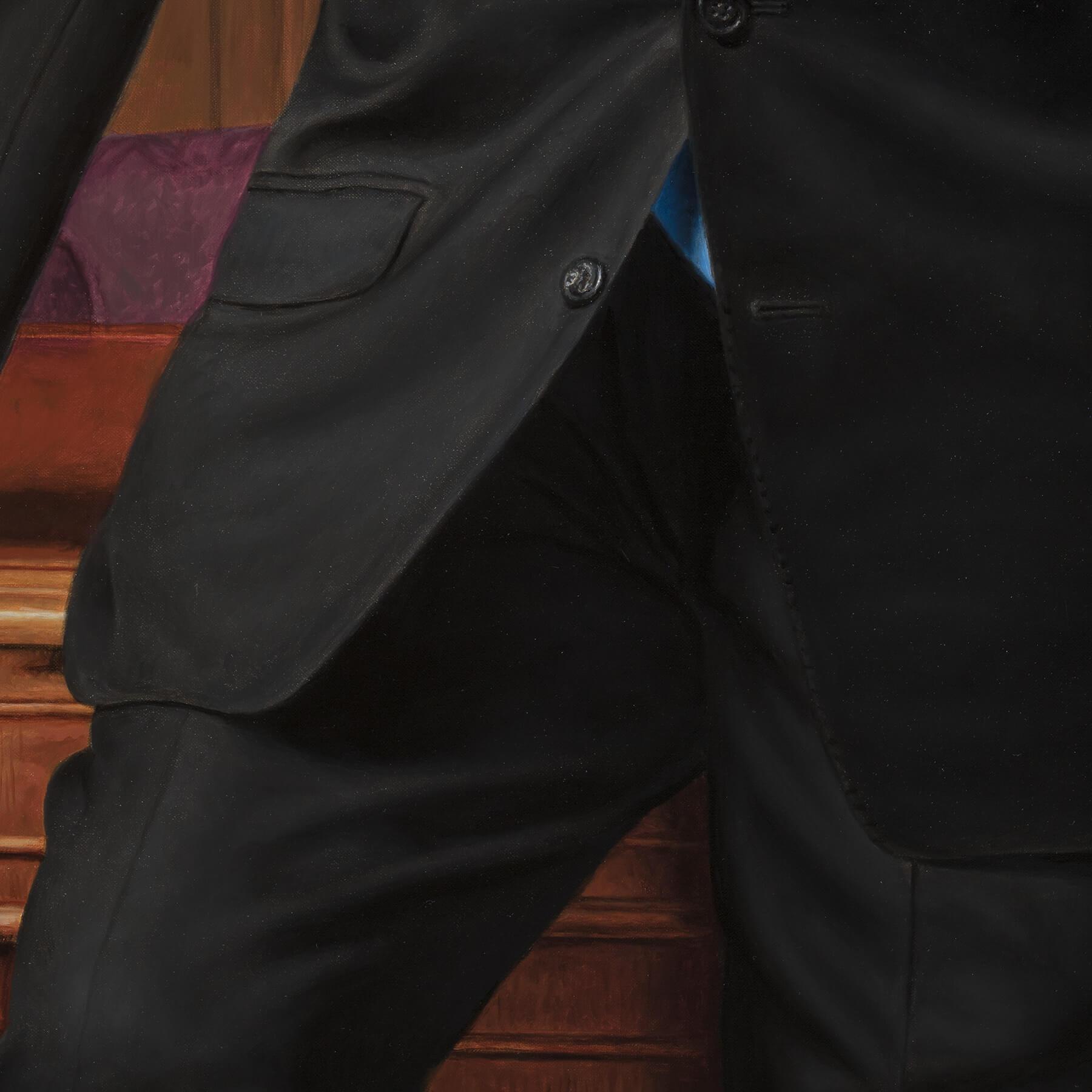 Custom oil businessman's portrait- Suit detail.