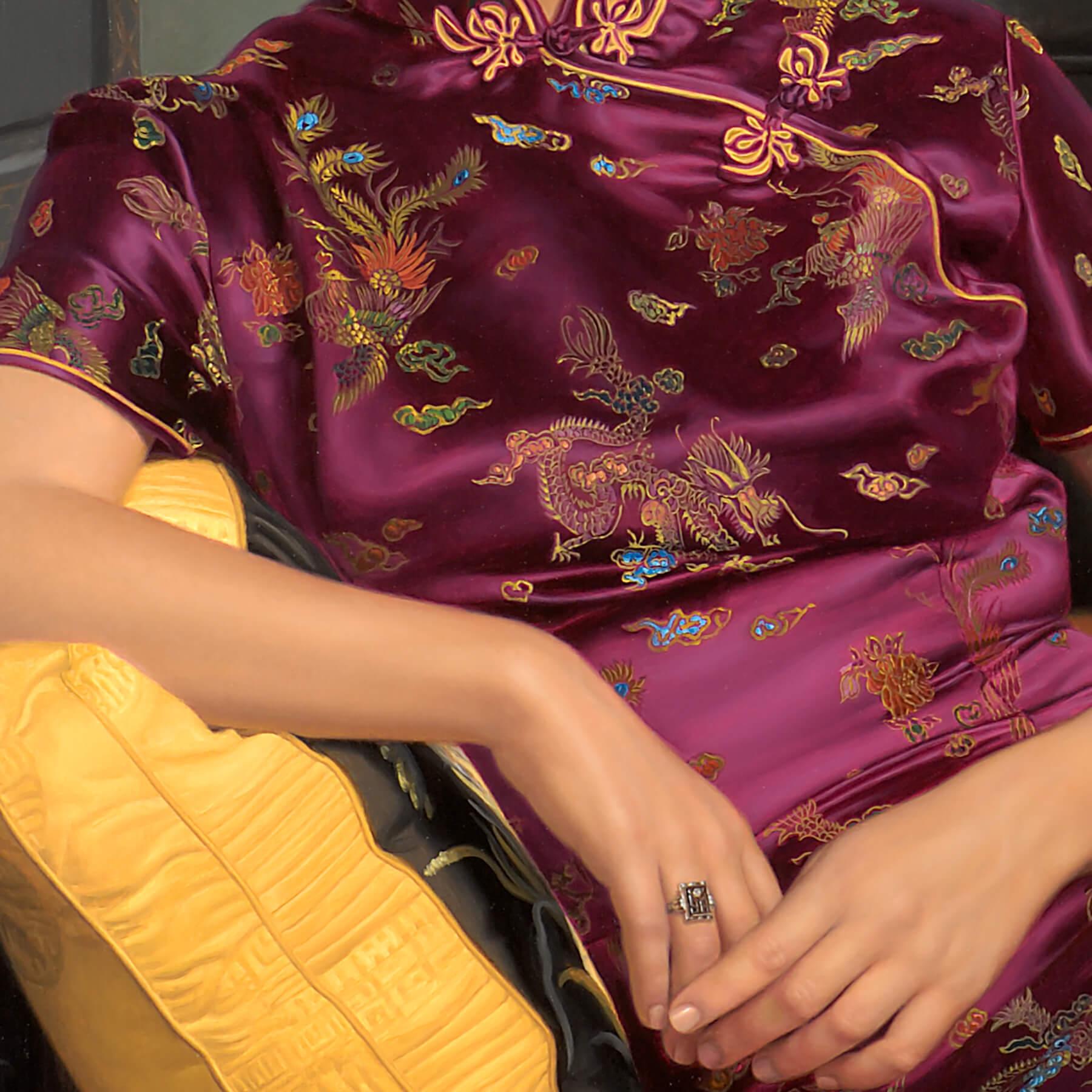Mandarin dress bodice silk embroidery and jewelry.