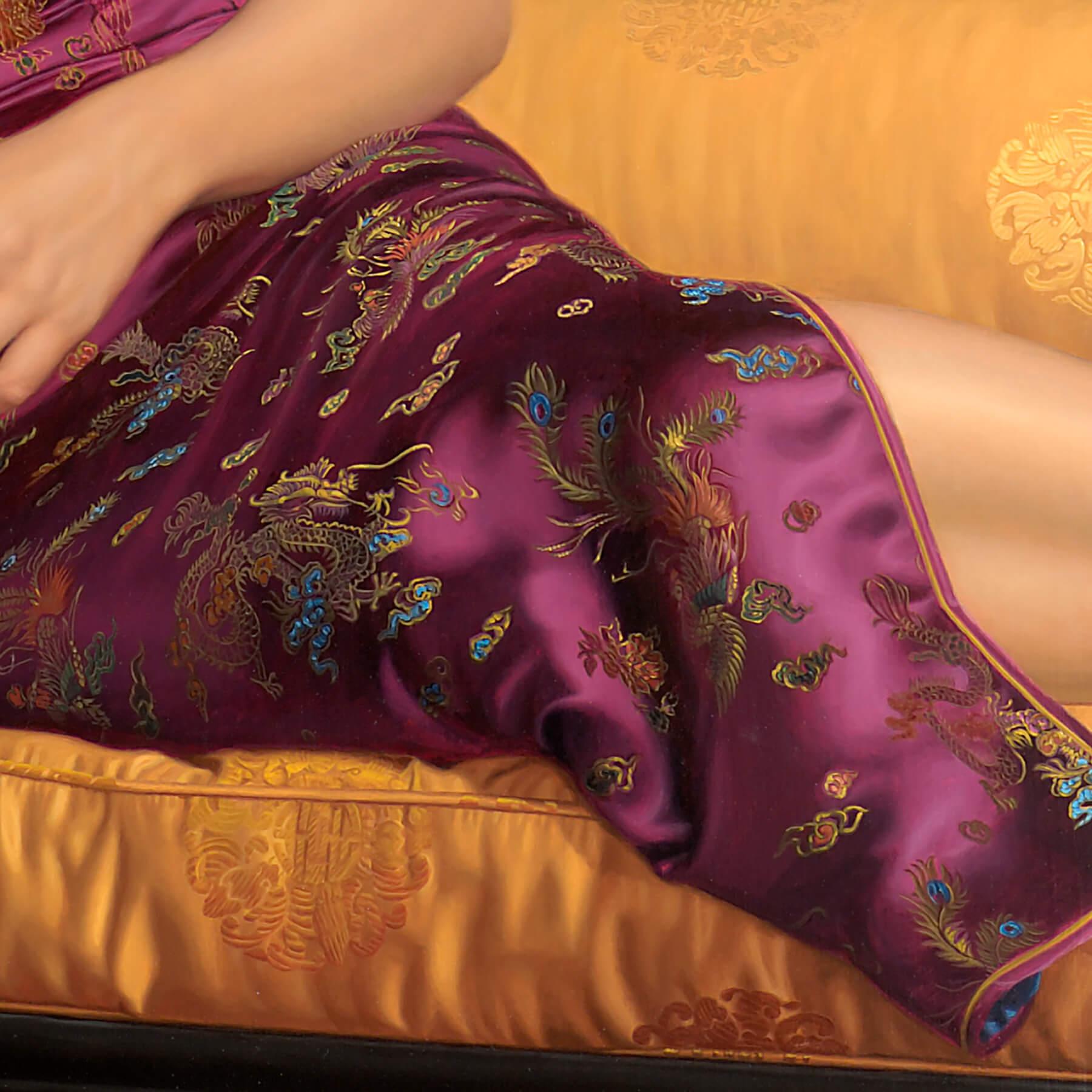 Silk Mandarin dress embroidered fabric in oil on linen.