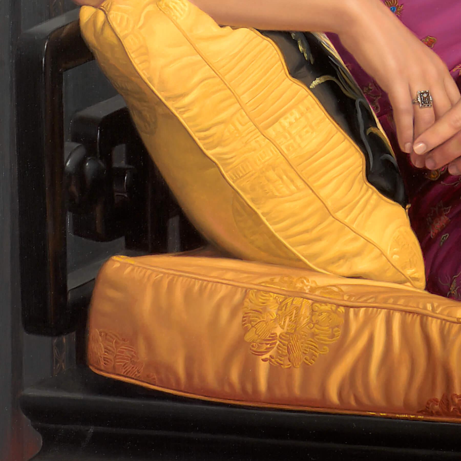 Pillow silk texture on custom oil portraiture commission.