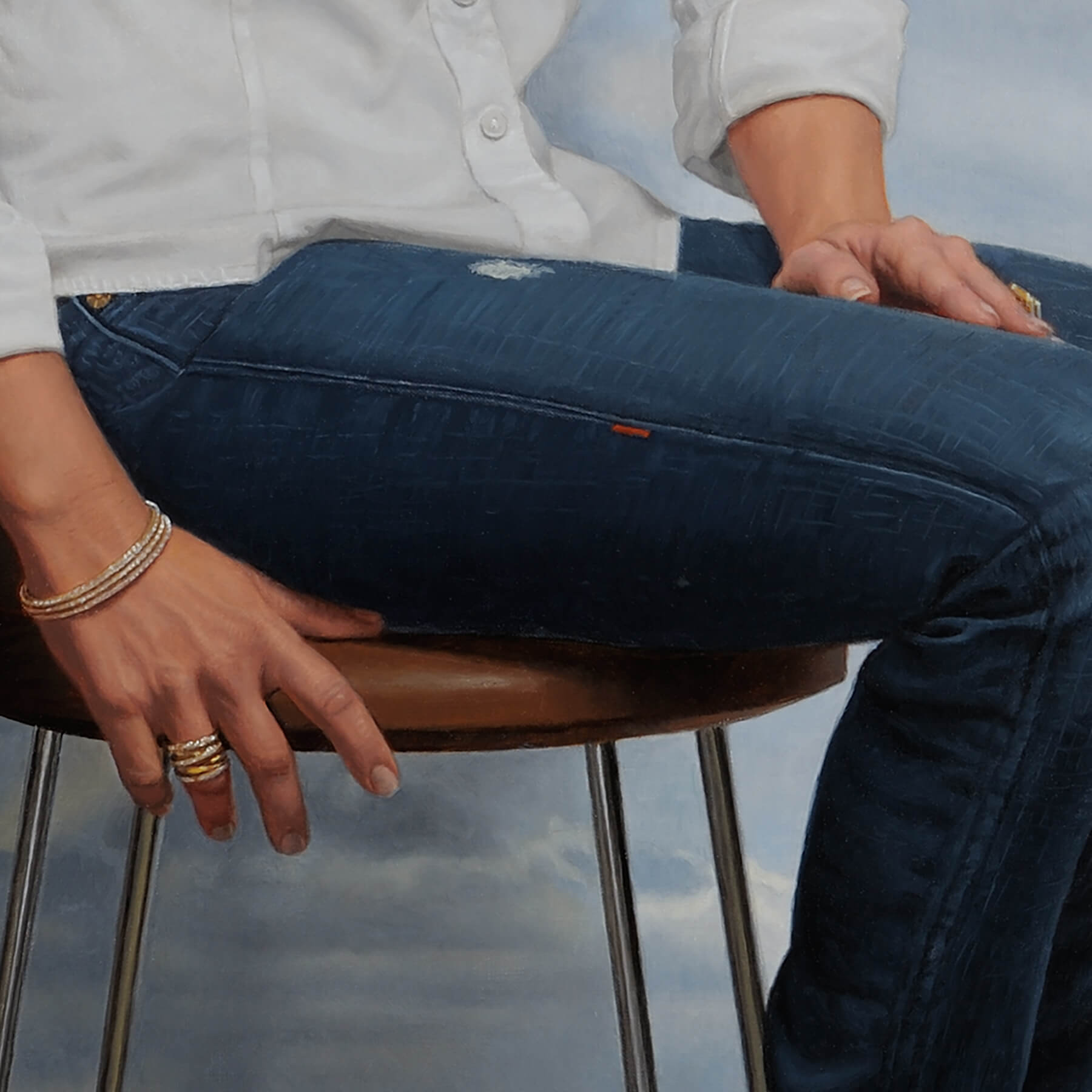Fine Art Contemporary OilCommission; detail of hand with jewelry and jeans texture.