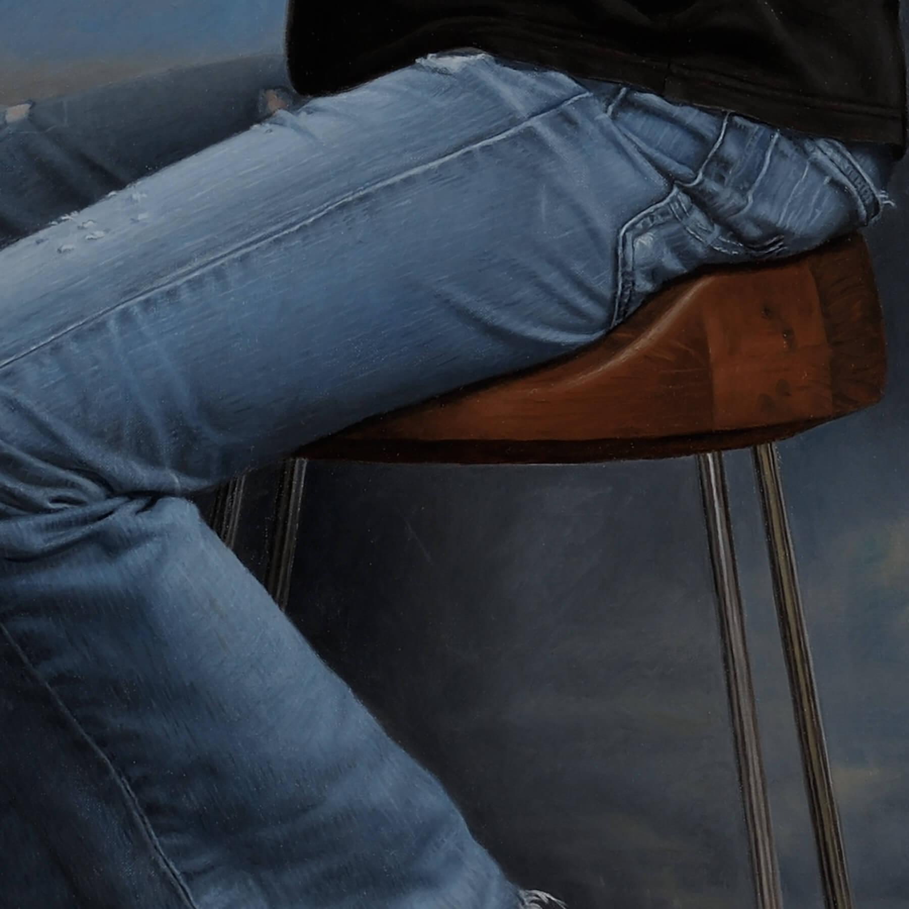 Fine Art Contemporary OilCommission; blue jeans texture