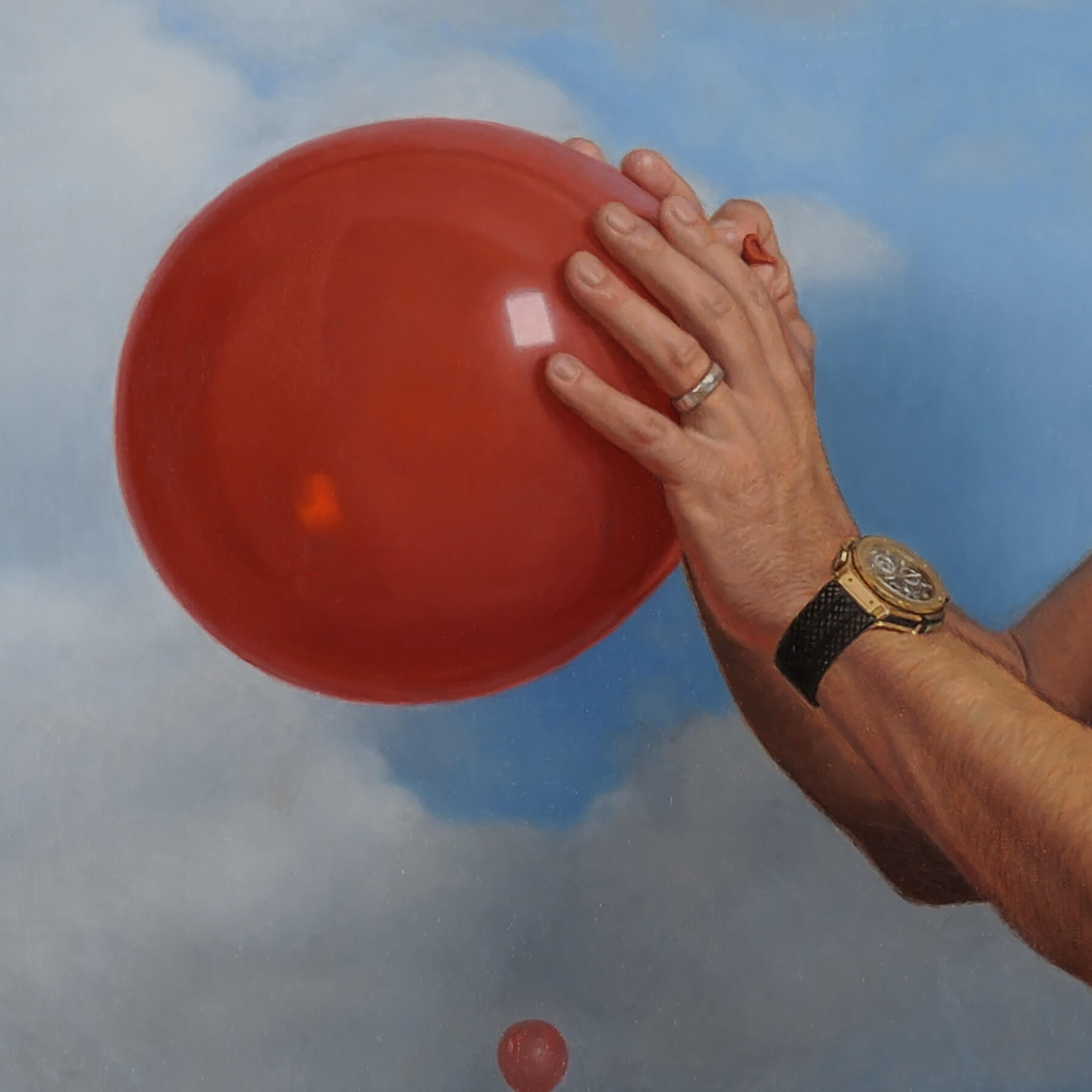 Fine Art Contemporary OilCommission with hand holding a balloon.
