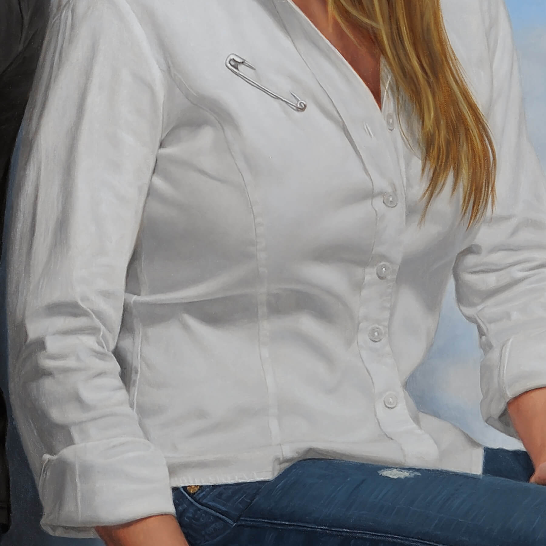 Fine Art Contemporary OilCommission; detail of white shirt with safety pin