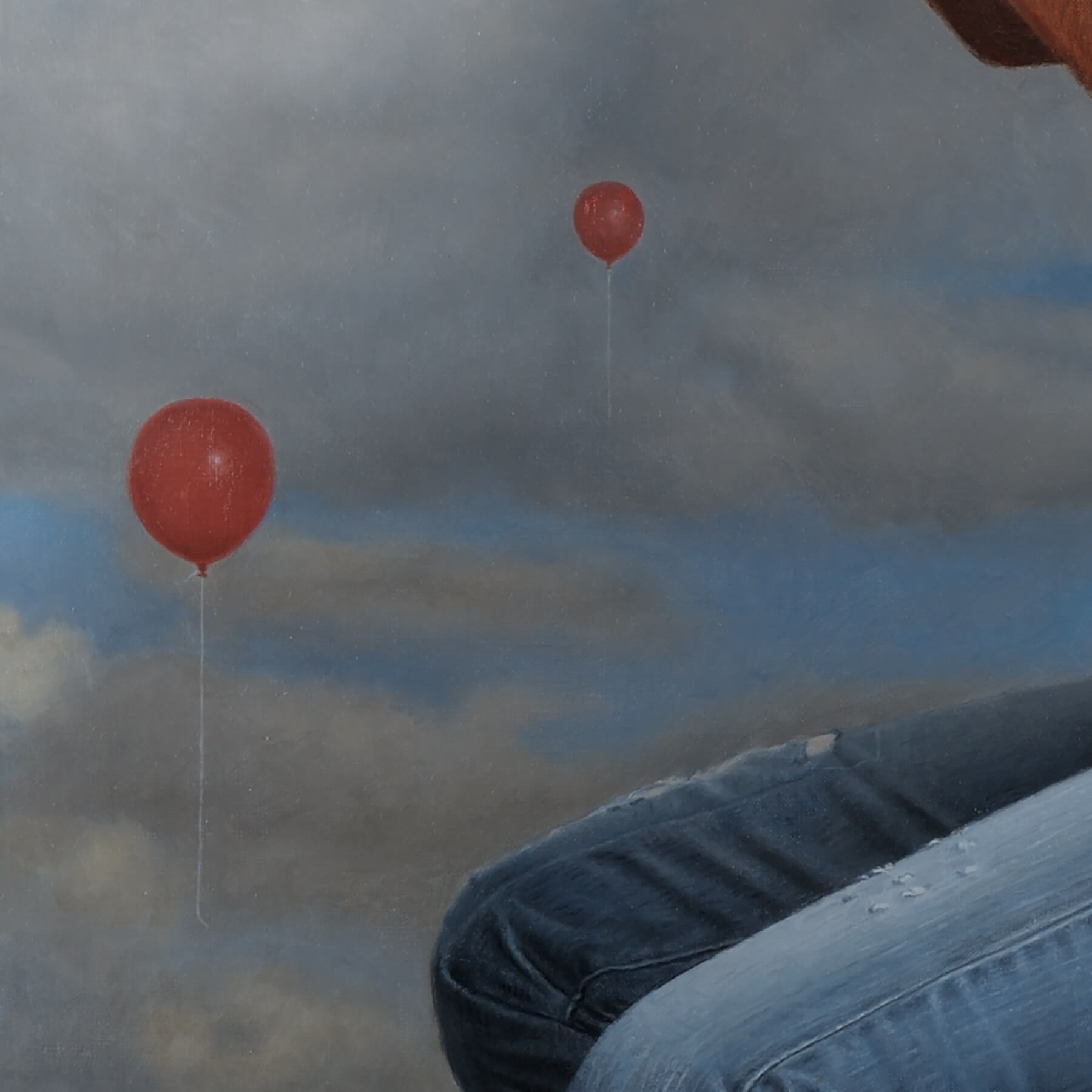 Fine Art Contemporary OilCommission; detail of sky with balloons