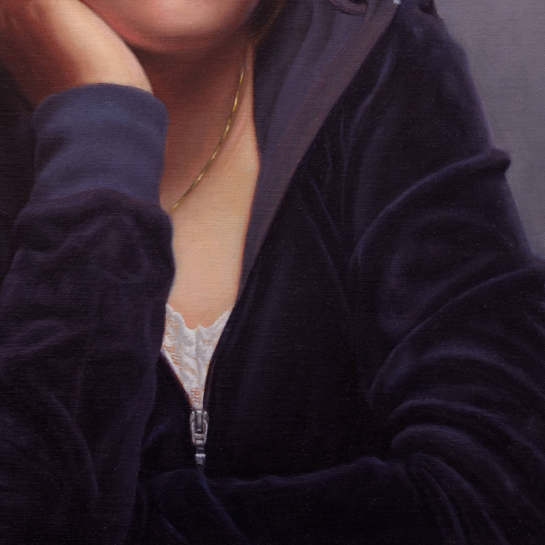 Clothing detail for Classical Oil Portrait of a Teenage Girl