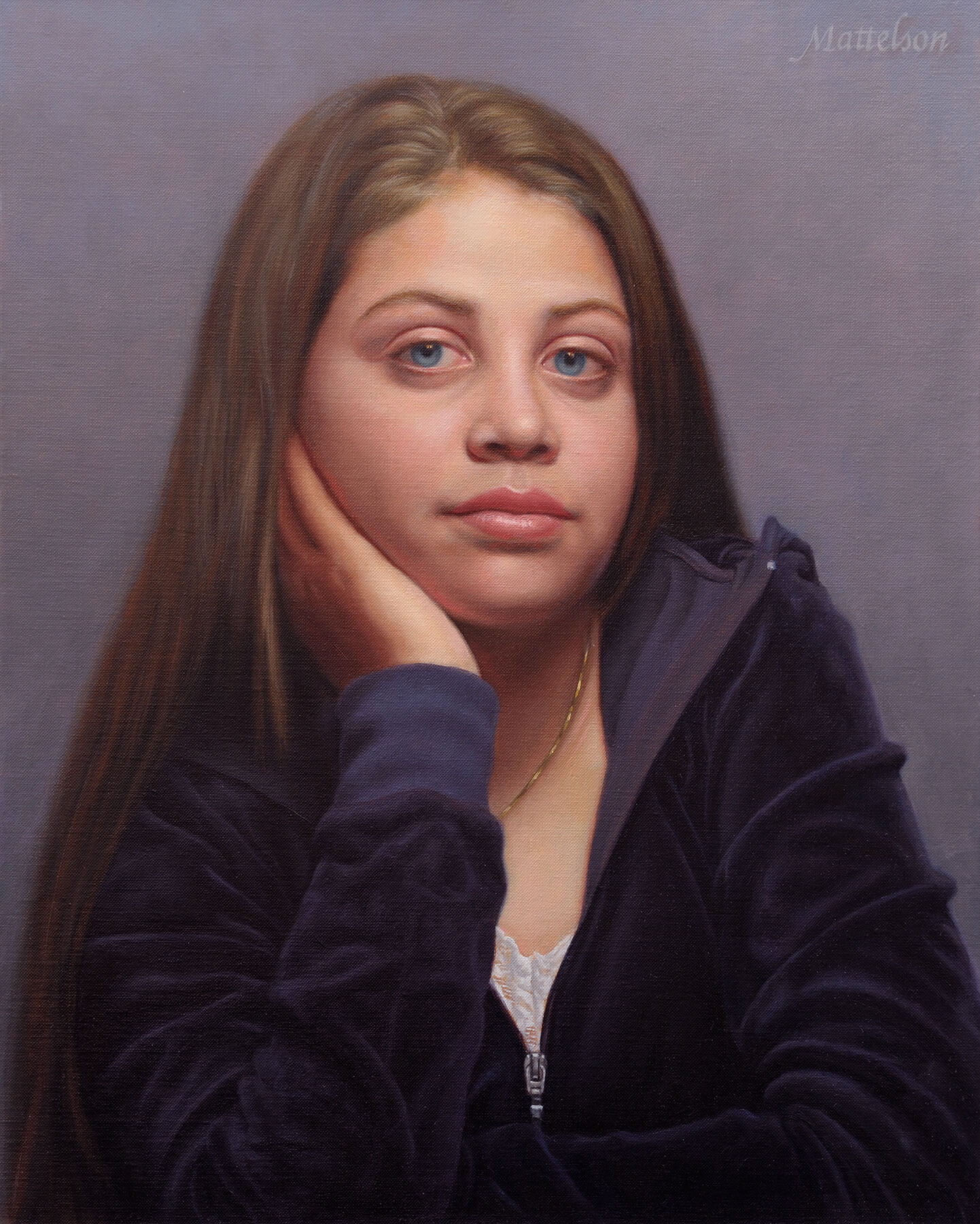 Commissioned teen oil portrait by Marvin Mattelson