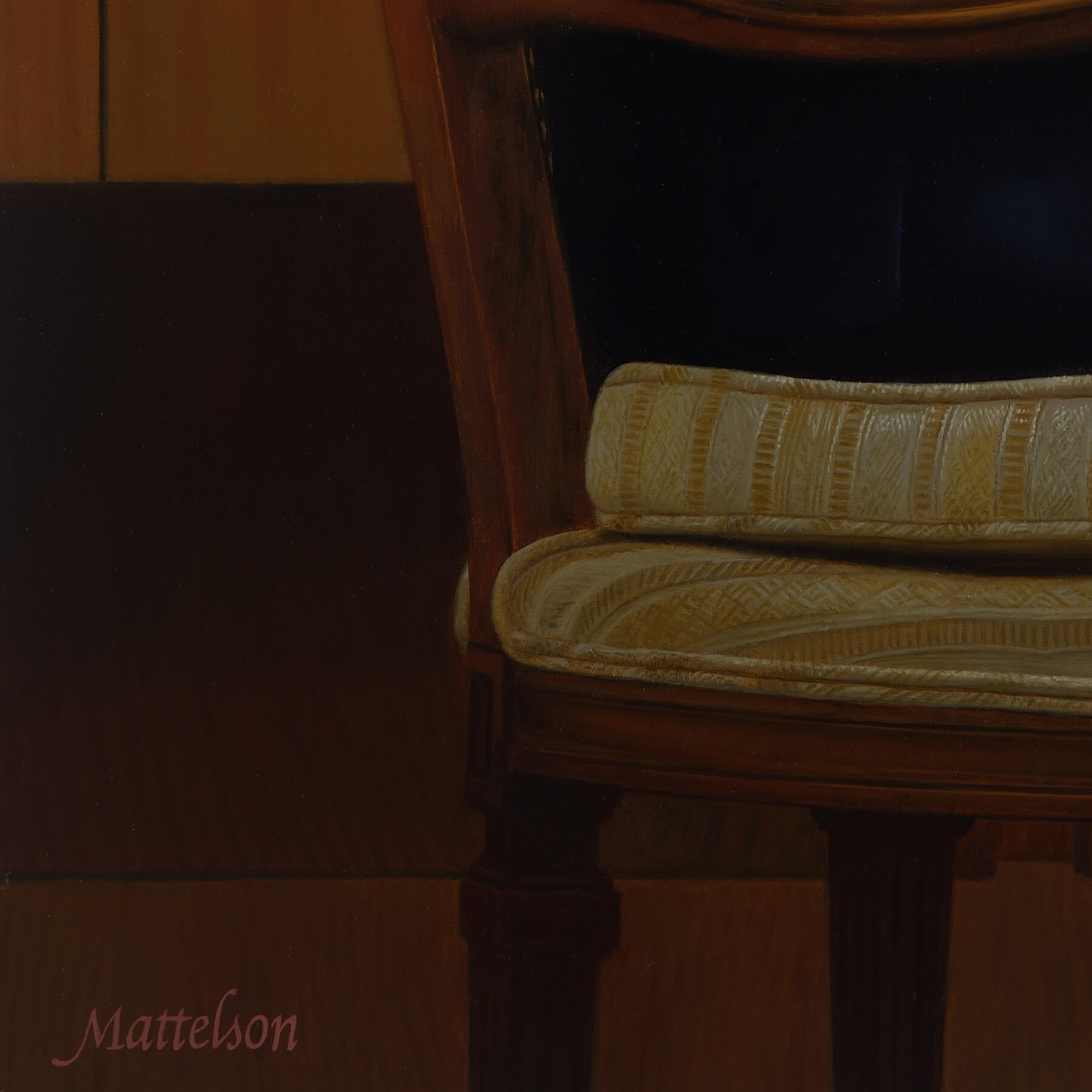 Chair Cushion detail for Oil Portrait Painting of Velcro CEO