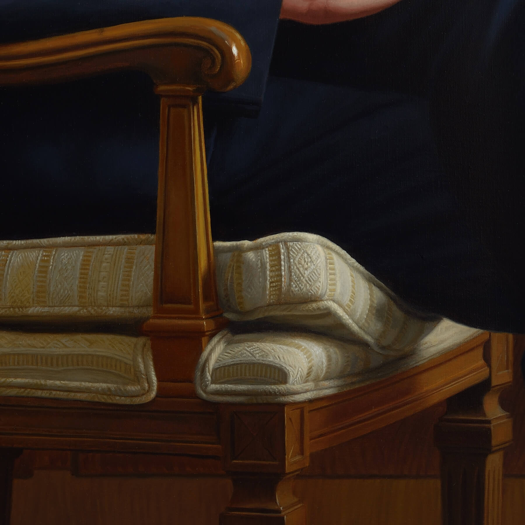 Chair detail for Oil Portrait Painting of Velcro CEO