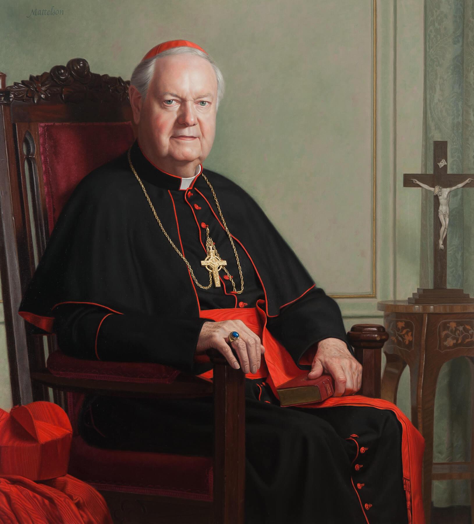 Oil Portrait od Cardinal Egan by Marvin Mattelson