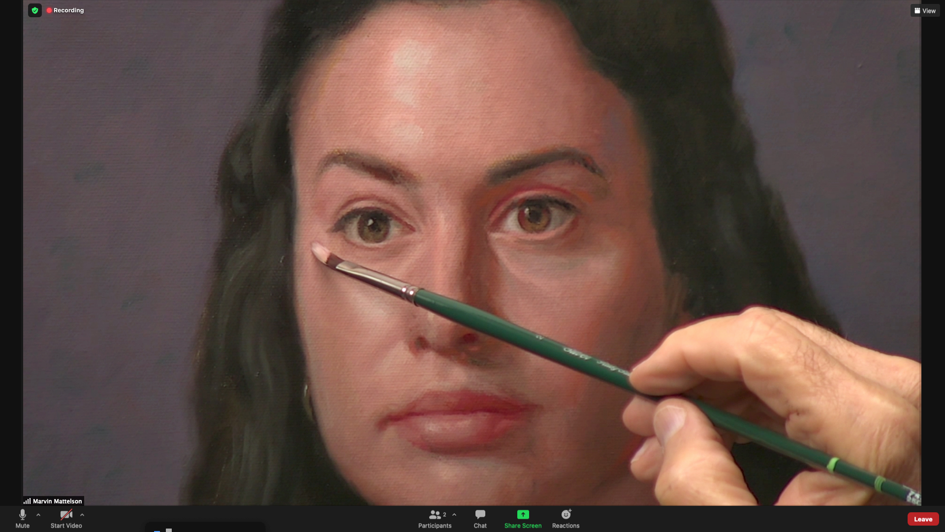 Zoom screen shot of Marvin Mattelson painting a demo.