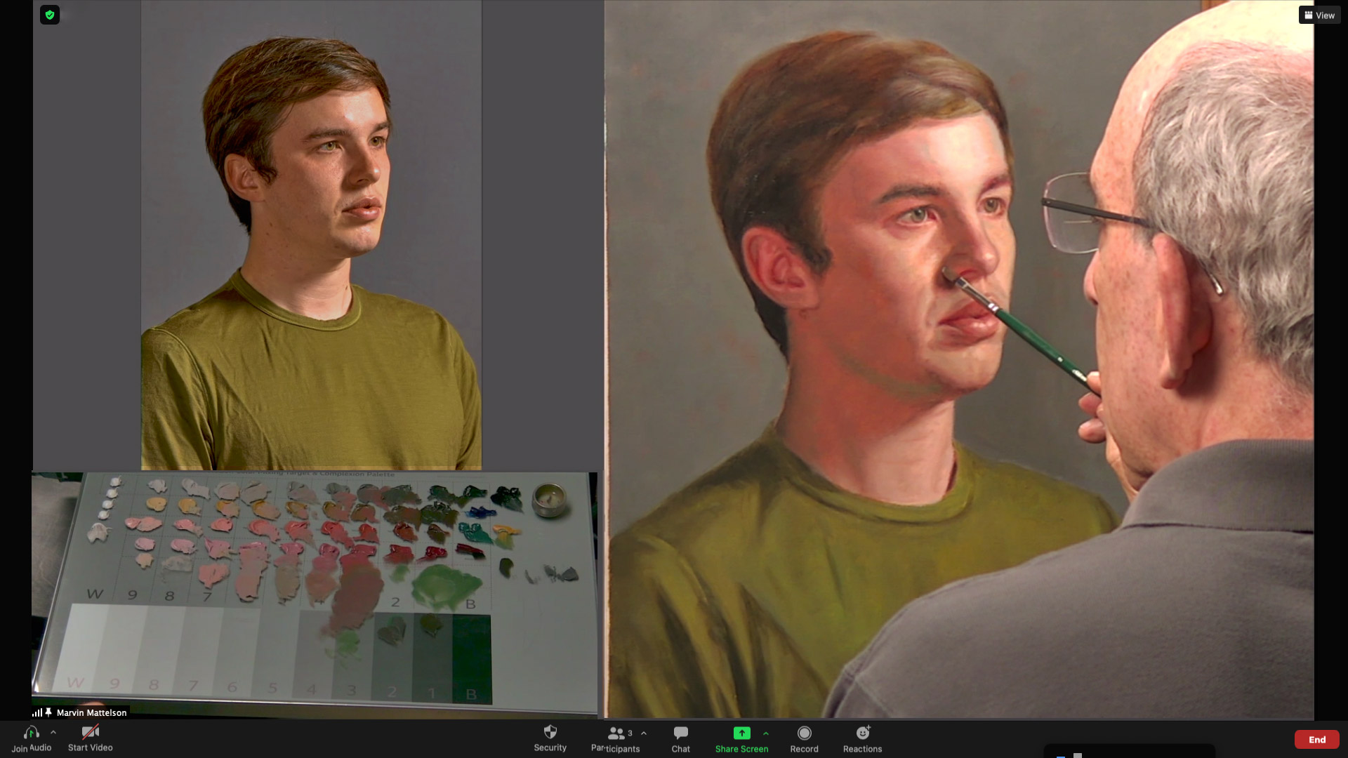 Marvin demoing, reference photo and palette screen views