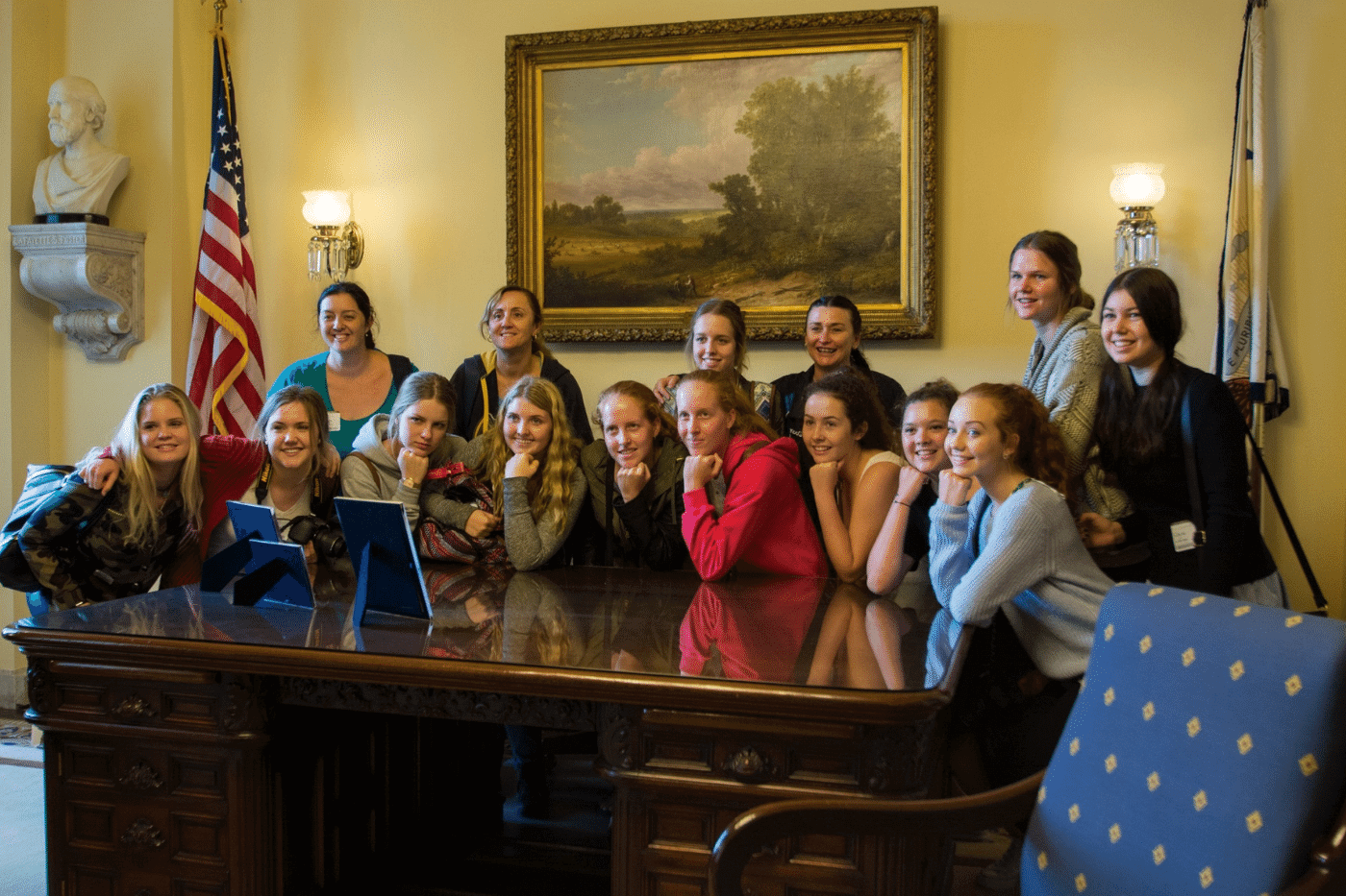 Students visiting the White House on their politics trip to the USA