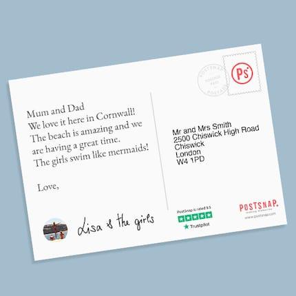 Create personalised photo postcards
