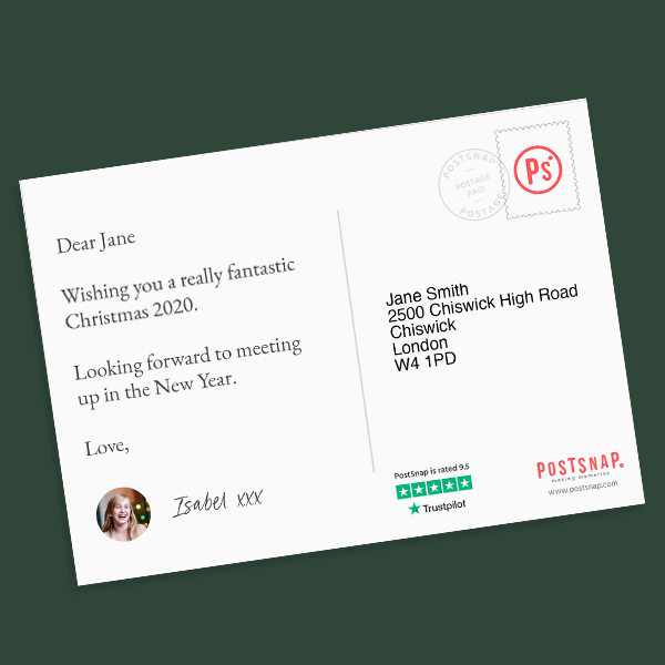Create personalised christmas photo postcards