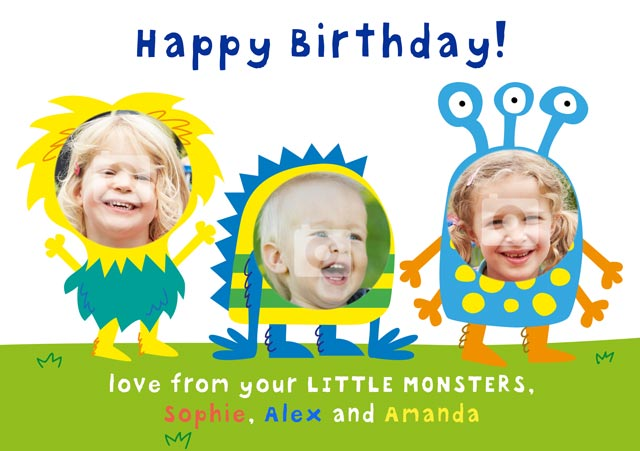 Create a Real Photo Birthday Monster X3 Card