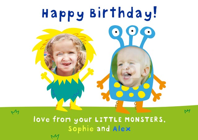 Create a Real Photo Birthday Monsters Card