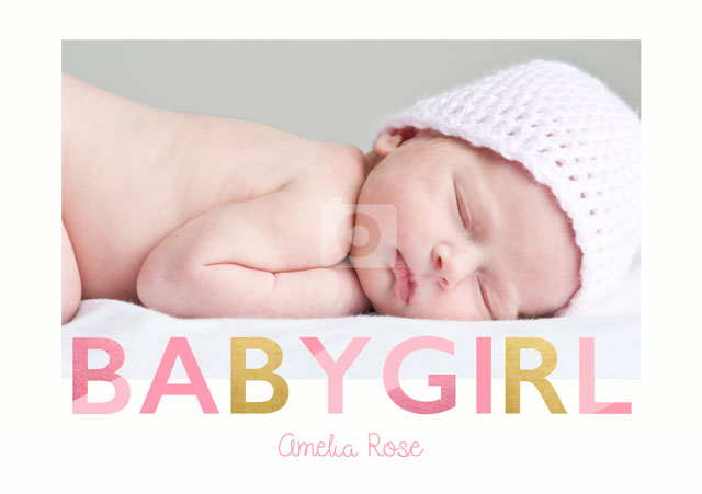 Create a Real Photo Baby Girl  Card