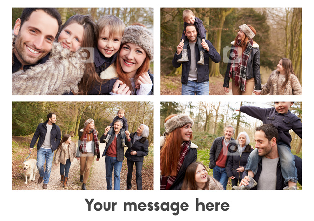 Create a personalised photo card 4 Photos With Text