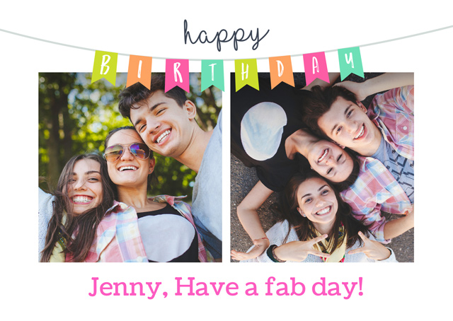 Create a Real Photo Birthday Bunting Older Card