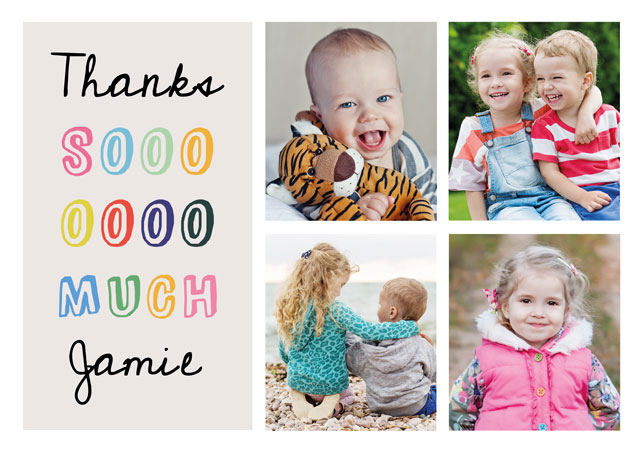 Create a personalised photo card Photo Thank You Card Collage Fun