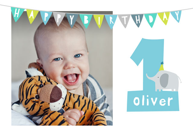 Create a personalised photo card Photo Birthday Card 1 Elelphant